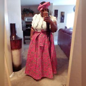 Dresses & Skirts - Mix Print Maxi Skirt w/ Matching Head Wrap